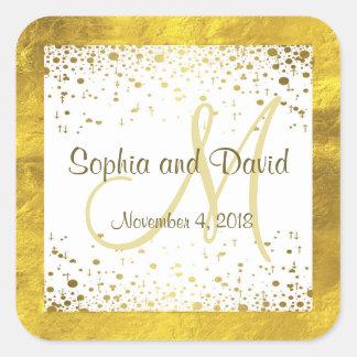 Wedding Invitations   Gold Confetti Monogram Square Sticker