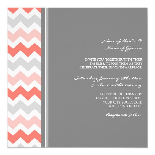 Wedding Invitations Grey Coral Chevron