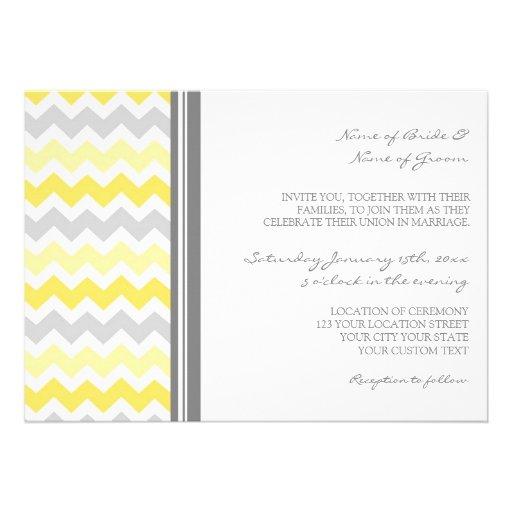 Wedding Invitations Grey Yellow Chevron