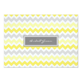 "Wedding Invitations Grey Yellow Chevron 5"" X 7"" Invitation Card"