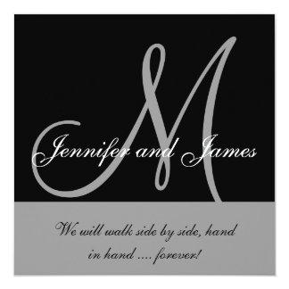 Wedding Invitations Monogram Saying Black Grey