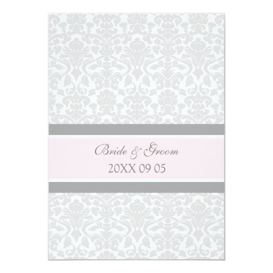 Wedding Invitations Pink Grey White Damask