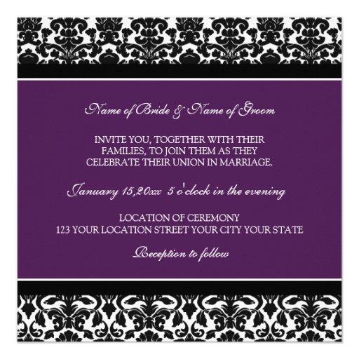 Wedding Invitations Plum Black White Damask