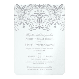 "Wedding Invitations | Silver Vintage Glamour 5"" X 7"" Invitation Card"