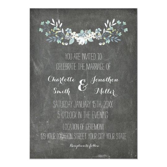 Wedding Invitations Vintage Floral Chalkboard