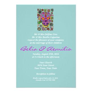 Wedding Invite Blue Bird Of Paradise Sugar Skull