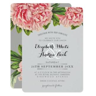 WEDDING INVITE chic blush pink floral peony flower