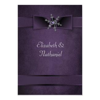Wedding Invite Diamond Snowflake & Satin Ribbons