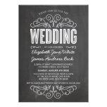 WEDDING INVITE elegant flourish chalkboard grey