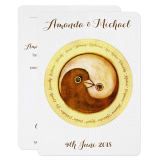 WEDDING INVITE gold harmony YinYang doves