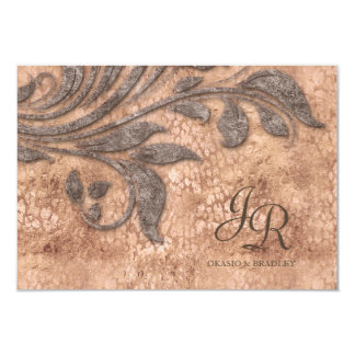 Wedding Invite Leaf Vintage Leopard Faux Suede