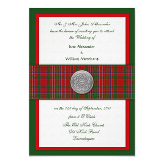 "Wedding Invite MacAlister Tartan with Celtic ""Pin"""