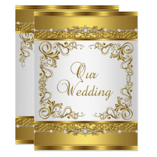 Wedding Invite Metallic Gold White Diamond