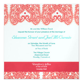 "Wedding Invite Rasberry and Teal 5.25"" Square Invitation Card"