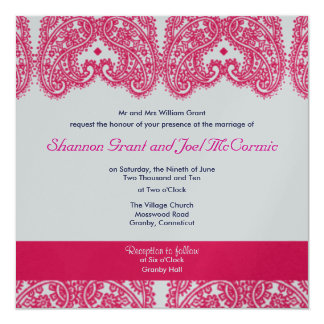 Wedding Invite Silver and Cerise.