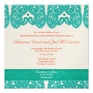 Wedding Invite Teal and Coral