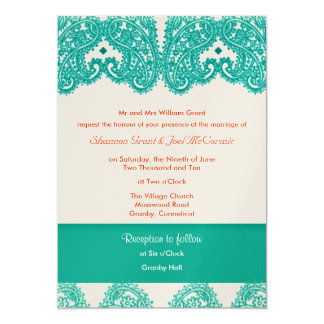 """Wedding Invite Teal and Coral 5"""" X 7"""" Invitation Card"""