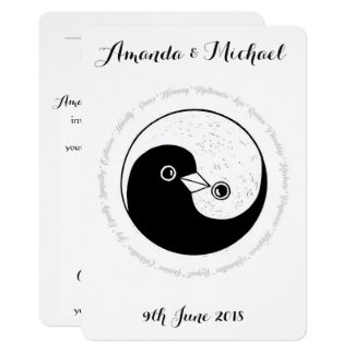 WEDDING INVITE white & black harmony YinYang doves