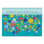 Wedding. Junior Bridesmaid. Colourful flower bed. Greeting Card