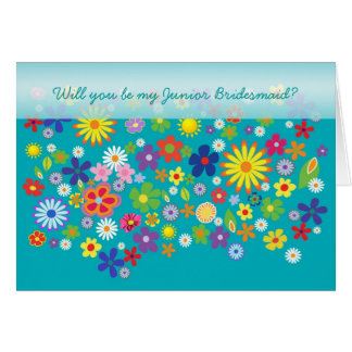 Wedding. Junior Bridesmaid. Colourful flower bed. Card