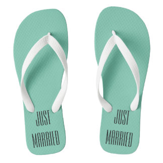 Wedding Just Married Honeymoon Bride Flip Flops