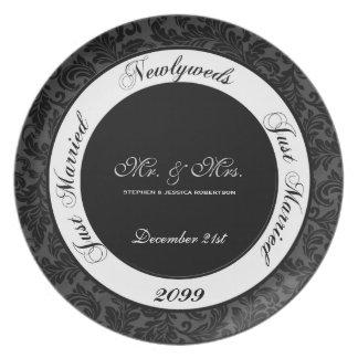 Wedding Keepsake Black and White Damask Plate
