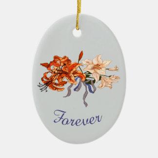 Wedding Keepsake with Tiger Lilies Ceramic Ornament