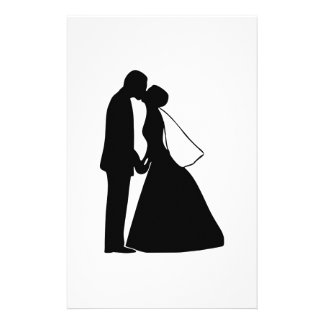 Wedding kiss bride and groom silhouette customized stationery