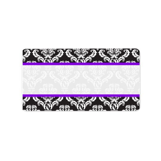 Wedding Labels Damask Purple