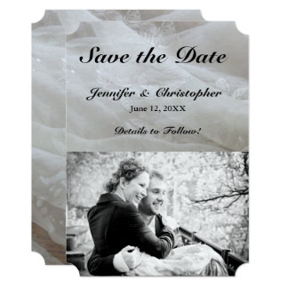 Wedding Lace Dress Image Save the Date Couple Card