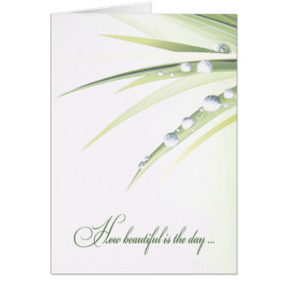 wedding leaf with water droplets card