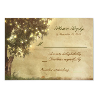 Wedding lights old tree rustic RSVP cards 9 Cm X 13 Cm Invitation Card