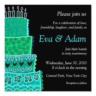 """Wedding Lime Green Square Invitation 5.25"""" Square Invitation Card"""
