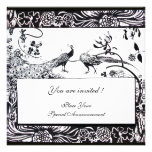 WEDDING LOVE BIRDS ,black and white Personalized Invitation