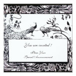 WEDDING LOVE BIRDS ,black and white Personalized Invitation