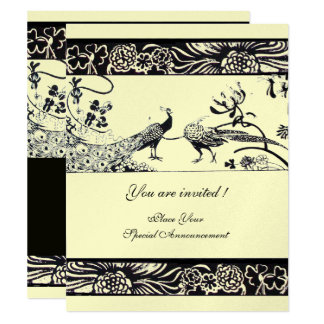 WEDDING LOVE BIRDS ,black ,silver metallic paper Card