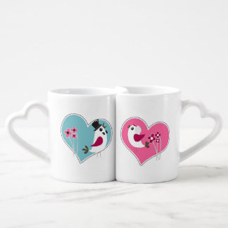 Wedding Love Birds on Hearts Lovers Mugs