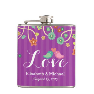 Wedding Love Heart Purple Swirl Floral Love Birds Flasks