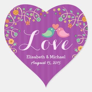 Wedding Love Heart Purple Swirl Floral Love Birds Heart Sticker