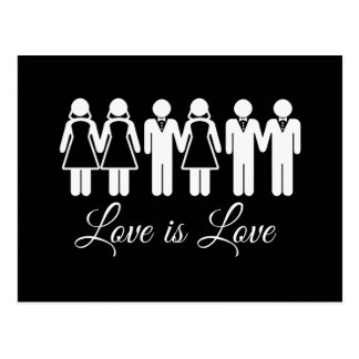 WEDDING LOVE IS LOVE POSTCARD