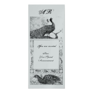 WEDDING LOVE PEACOCKS MONOGRAM black white silver 10 Cm X 24 Cm Invitation Card