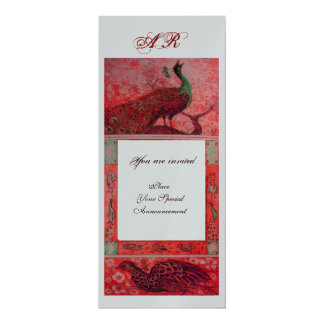 WEDDING LOVE PEACOCKS MONOGRAM red silver metallic 10 Cm X 24 Cm Invitation Card