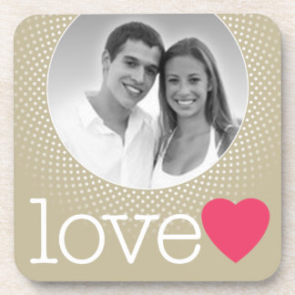 Wedding - Love Photo Border with pink heart Beverage Coasters
