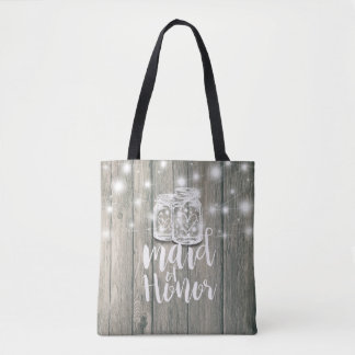 Wedding Maid of Honor Wood Mason Jar String Lights Tote Bag