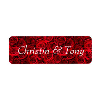 Wedding mailing labels red roses