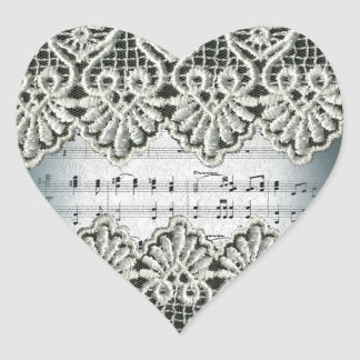 Wedding March with Lace Heart Sticker