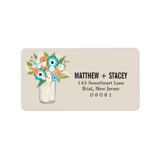 Wedding Mason Jar and Floral Address Label