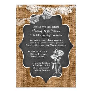 Wedding | Mason Jar, Lace, Burlap | Chalkboard 13 Cm X 18 Cm Invitation Card