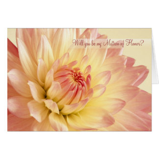 Wedding. Matron of Honor Card with Dahlia