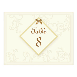 Wedding Meal Table Number Card Ivory Ornate Swirls